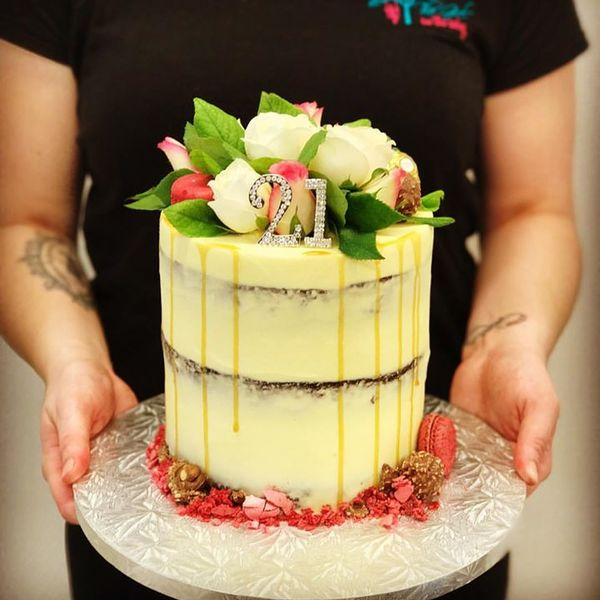 Cream Naked Cake with Fresh Flowers