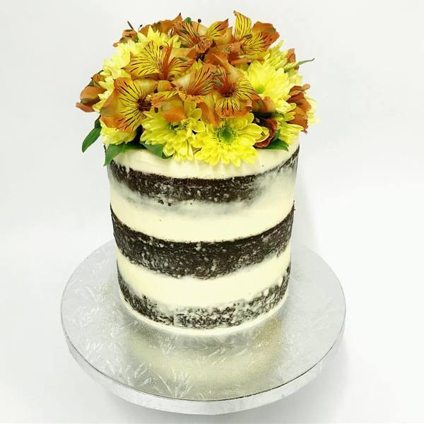 Cream Naked cake with Golden Flowers