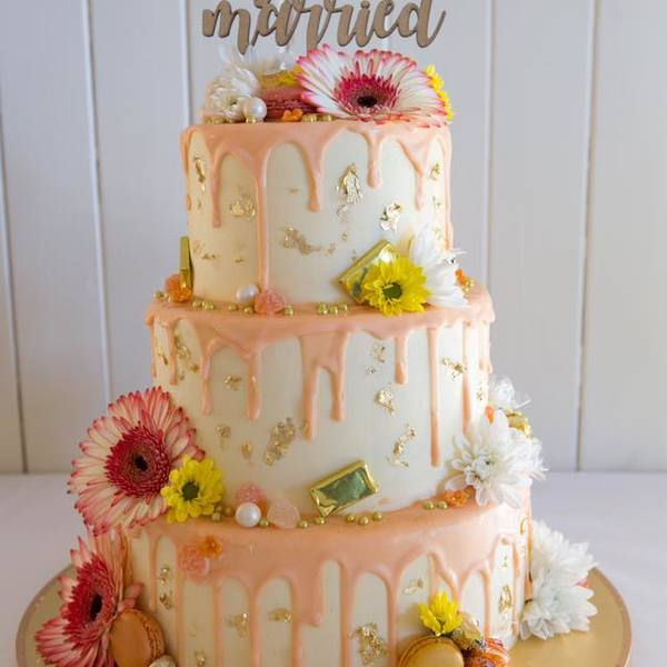 Three Tier Drip Wedding Cake