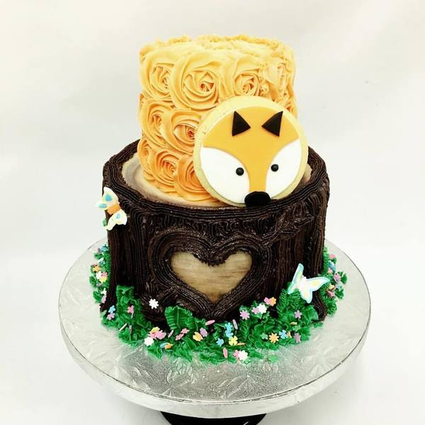 Two Tier Tree Trunk with Fox Cookie and Roses