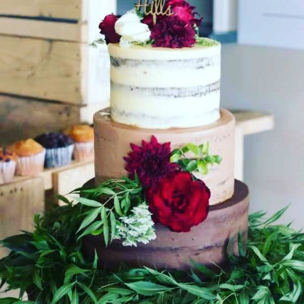 Three Tier Semi Naked Cake
