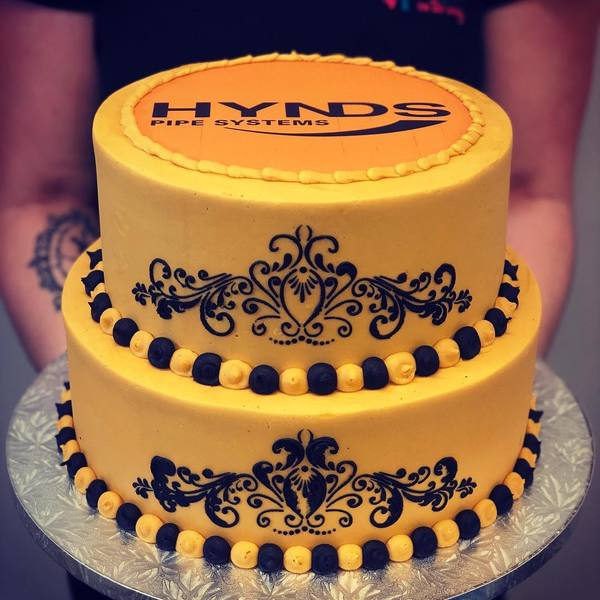 Two Tier Gold and Black Stencil with Edible Image