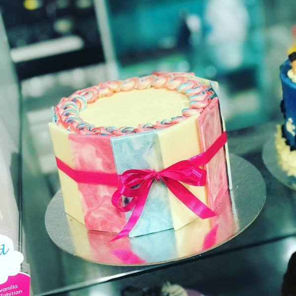Blue, Pink and Cream Chocolate Panel Cake