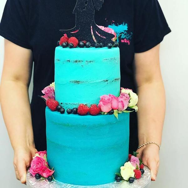 Smooth Ombre Blue Two Tier Cake with Fresh Fruit and Flowers