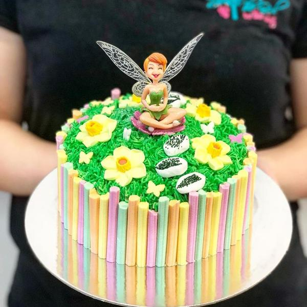 Fairy Garden Cake with Fruit Stick Edge