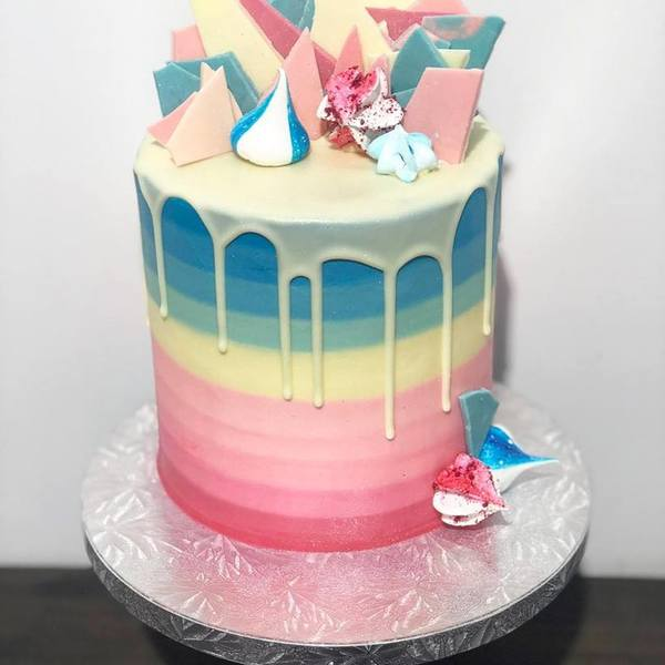 Ombre Pink to Blue with White Chocolate Drip and Pink + Blue Toppings