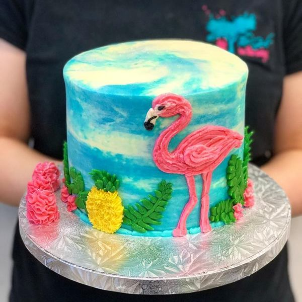 Flamingo Hawaiian Cake
