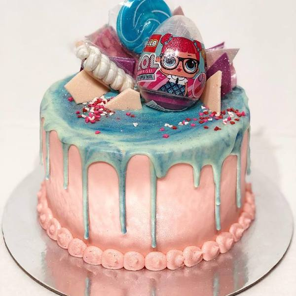 Smooth Pink LOL Doll Cake With Blue Marbled Drip