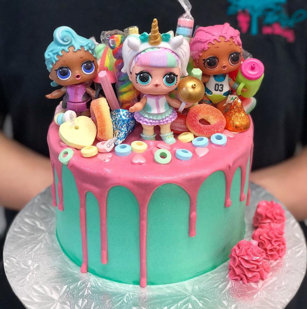 Teal And Pink Drip Lol Doll Cake The Girl On The Swing
