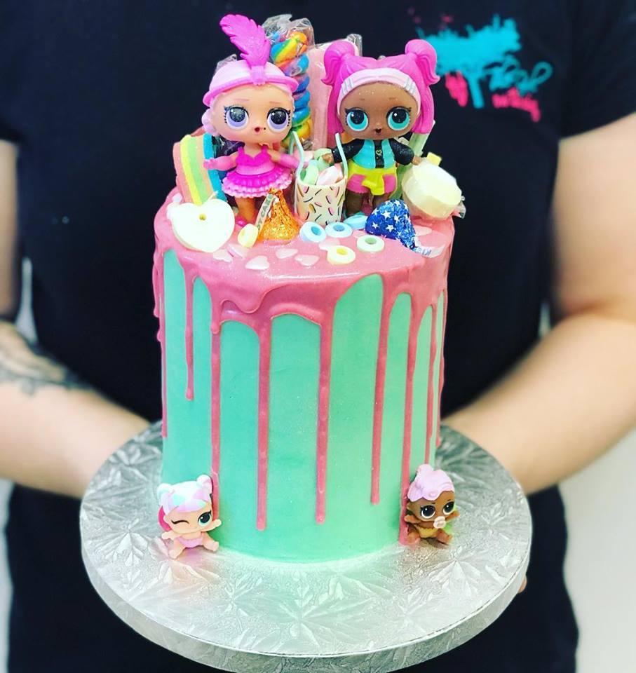 Tall Teal And Pink Lol Doll Cake The Girl On The Swing