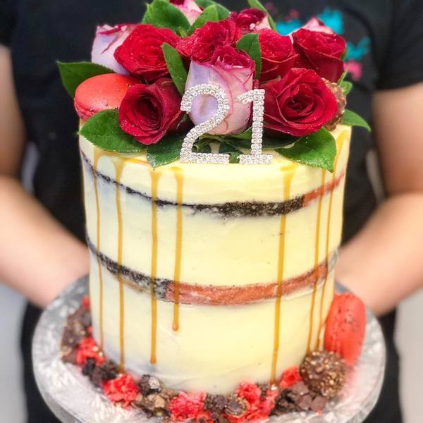 Cream Naked Cake with Red Roses