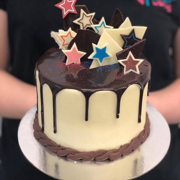Cream and Chocolate Star Drip Cake