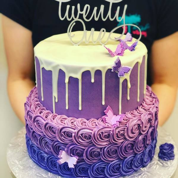 Two Tier Purple Ombre Rose Drip Cake