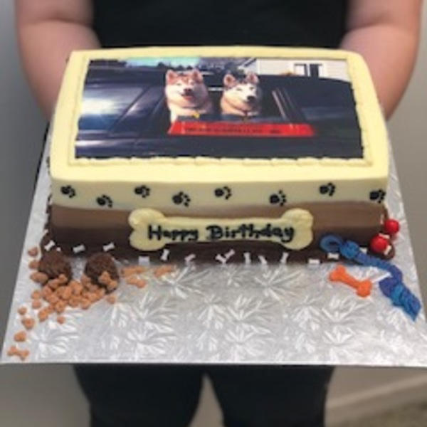 Smooth Dog Themed Cake with Edible Image
