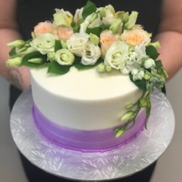 Smooth Purple and White with Fresh Flowers (vegan)