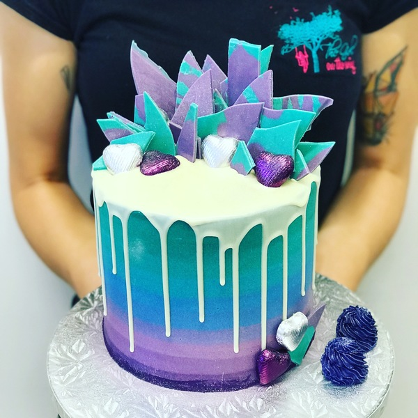 Two Tier Purple to Teal Overload with Chocolate Shards