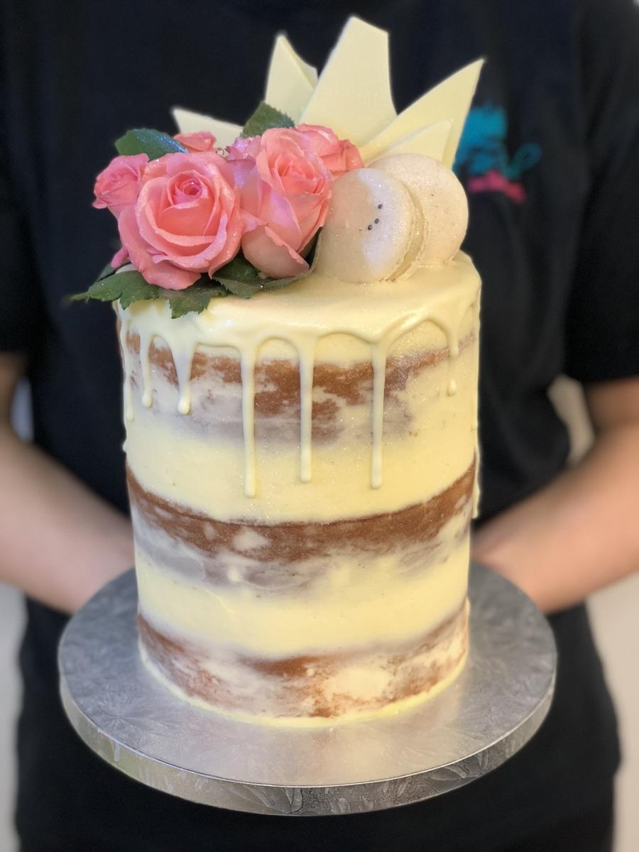 Cream Naked Cake With White Chocolate Drip Fresh Flowers