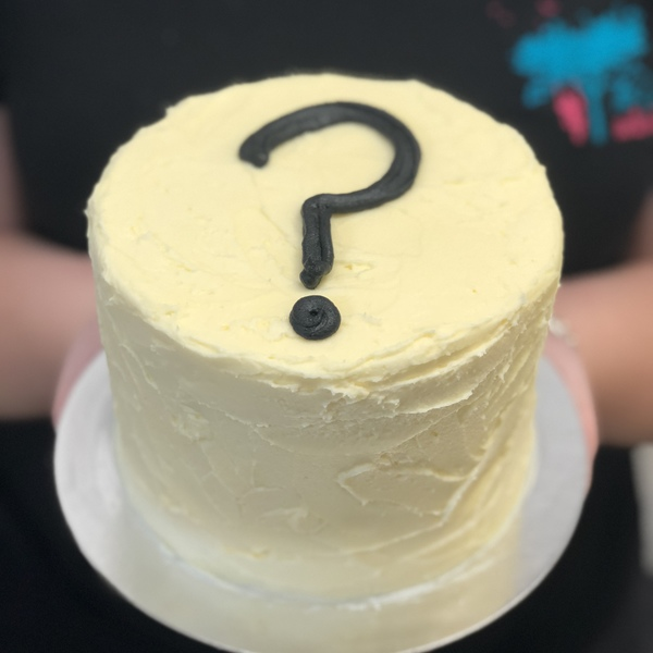 Cream Gender Reveal Cake with Question Mark