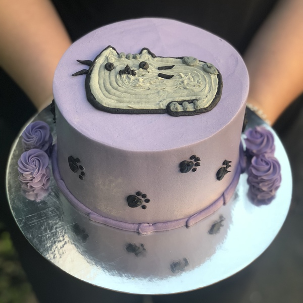 Purple Pusheen Cat Cake