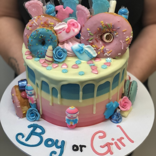 Pink and Blue Donut Gender Reveal Cake