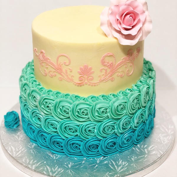 Two Tier Ombre Blue Roses and Smooth Cream With Pink Stencil and Rose