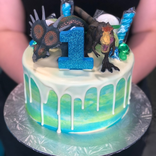 Smooth Blue, Green and Cream With Chocolate Drip with Toppers and Dinosaurs
