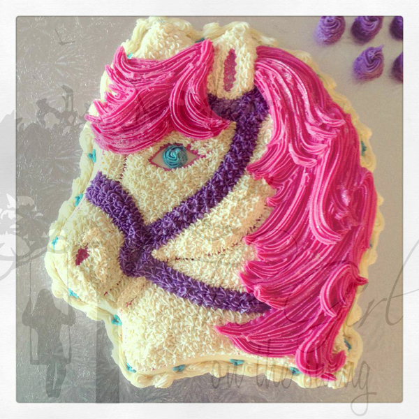 Horse Head Pink and Cream Cake