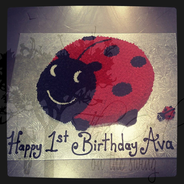 Lady Bug Side on Cake