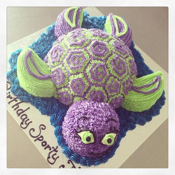 Turtle Cake purple and green