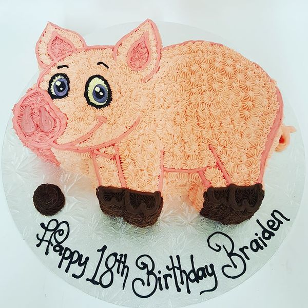 Pig Shaped Carved Cake