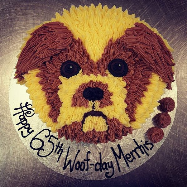 Puppy Face Brown and Cream Cake