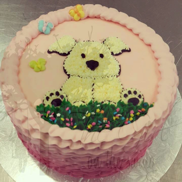 Puppy on Pink Ruffle Cake