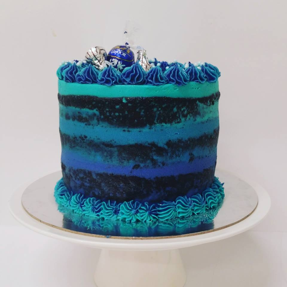 Blue Ombre Naked Cake The Girl On The Swing