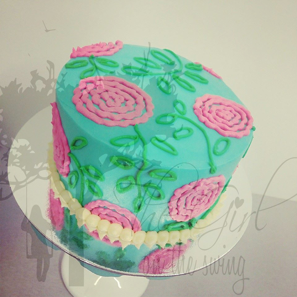 Piped Flowers on Smooth Teal Cake