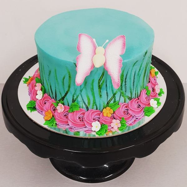 Smooth Blue Painted Garden Cake