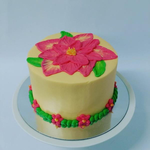 Smooth Cream Cake with Pink Etched Flowers Cake