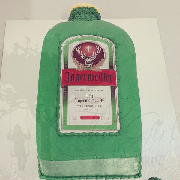 Jagermeister Bottle (with edible image) Cake