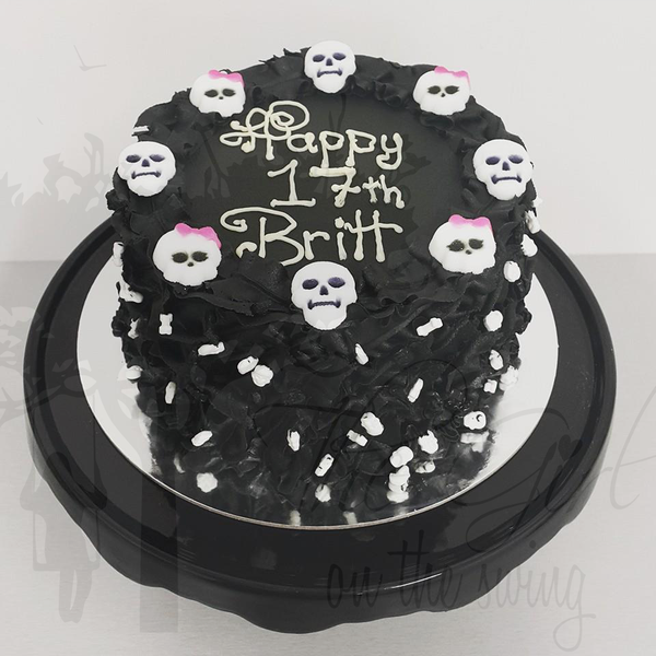 Black Leaves with Sugar Skulls cake