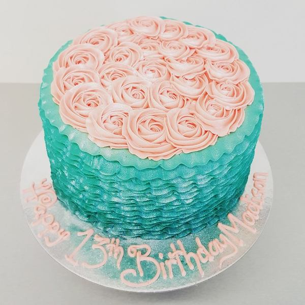 Blue Ombre Frills with Pink Roses Cake