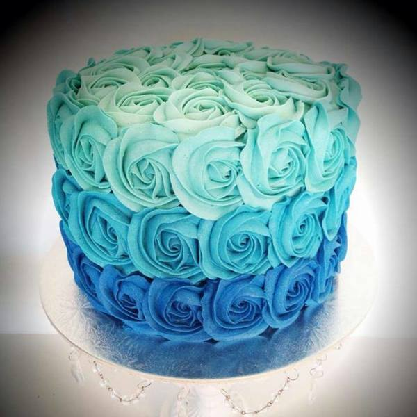 Blue Ombre Roses Cake