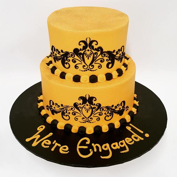 Gold and Black Stencil Cake