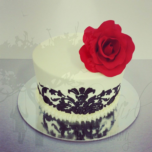 Cream and Black Stencil Cake