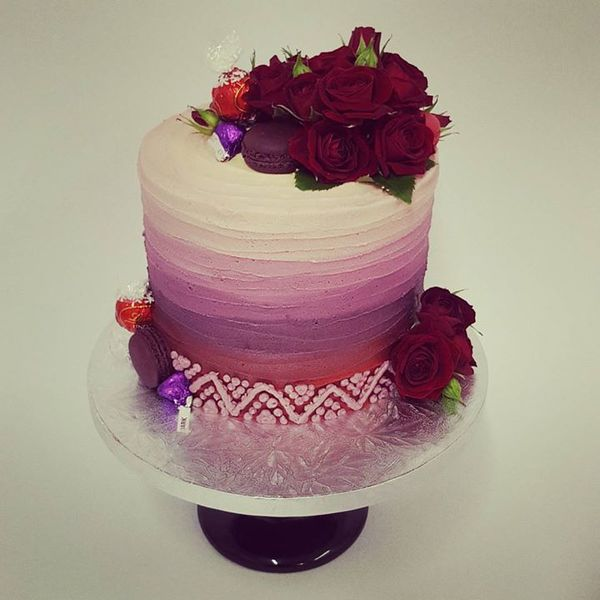 Purple Ombre Cake with Fresh Flowers