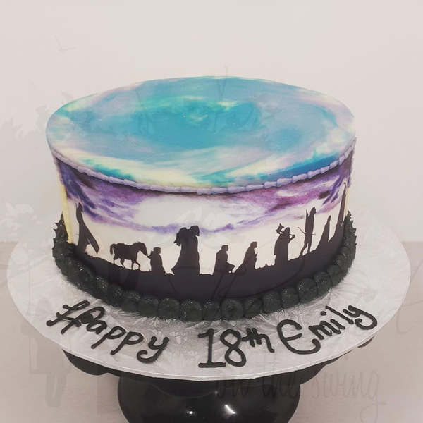 Smooth Blue and Purple Marble with LOTR Edible Image
