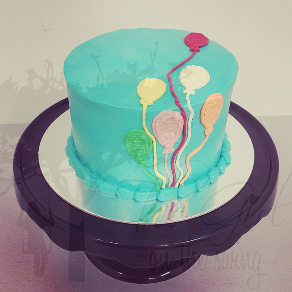 Smooth Blue Balloon Cake