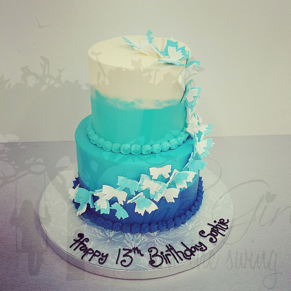 Smooth Blue Ombre Two Tier with Butterflies
