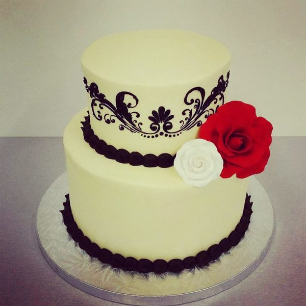 Smooth Cream and Black Stencil Cake
