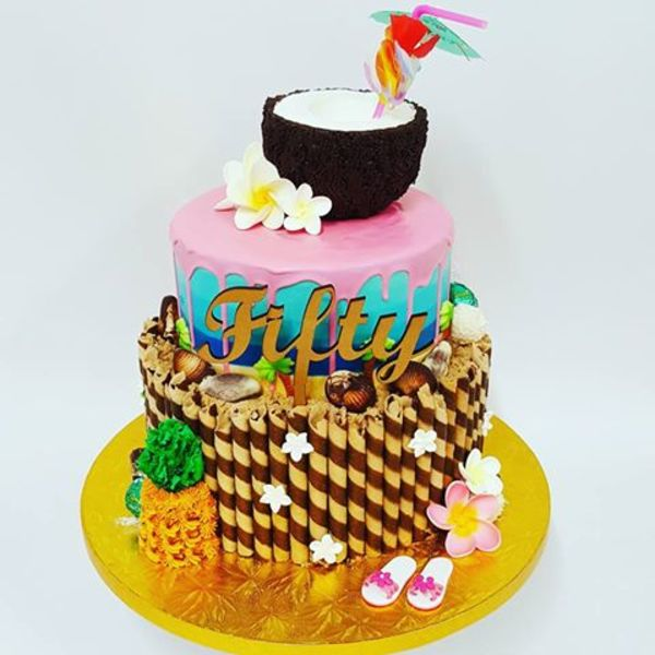 Three Tier Hawaiian Theme Cake