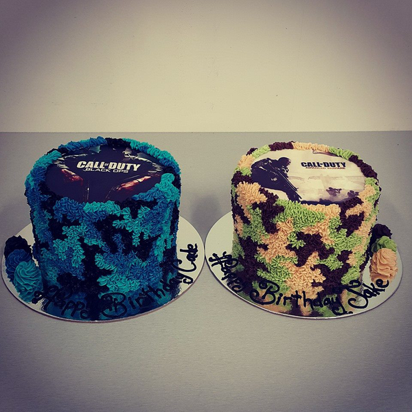 Call of Duty Blue and Green Camo (with Edible Image)