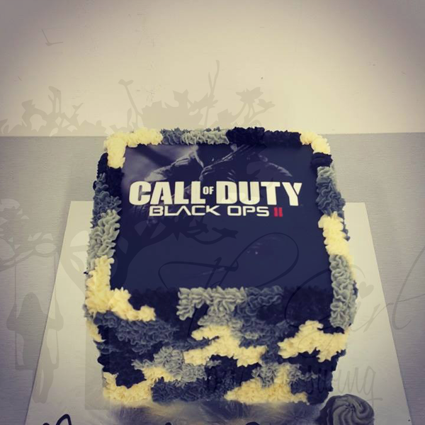 Call of Duty Square Camo Cake (with Edible Image)